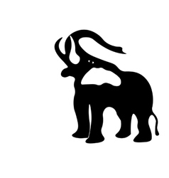 Black and white silhouette of an elephant with a vector