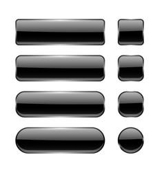 black glass buttons menu interface elements set vector image
