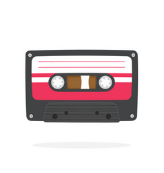 black retro audio cassette in flat style vector image
