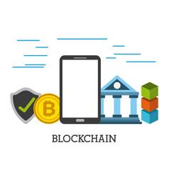 blockchain mobile bank bitcoin security protection vector image