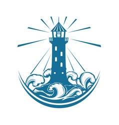 blue lighthouse sign vector image