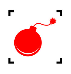 bomb sign red icon inside vector image