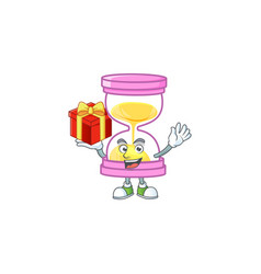 Bring gift sandglass isolated with on white vector