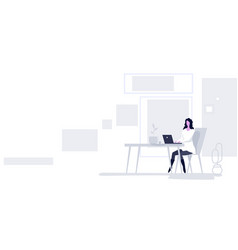 businesswoman sitting at workplace business woman vector image