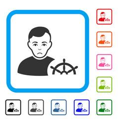 Captain framed unhappy icon vector