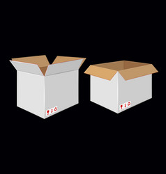 Cardboard open white box side view package design vector