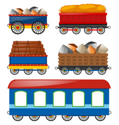 Carraige carts loaded with different things vector