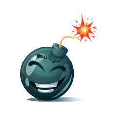 Cartoon bomb fuse wick spark icon laugh smiley vector