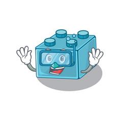 Cartoon character lego brick toys wearing vector