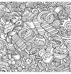 Cartoon doodles desserts seamless pattern vector