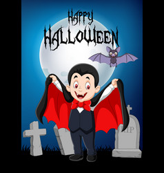 cartoon funny vampire with halloween background vector image