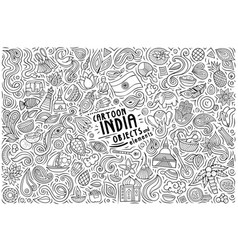 cartoon set india theme items objects and vector image