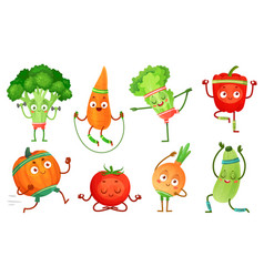 Cartoon vegetables fitness vegetable characters vector