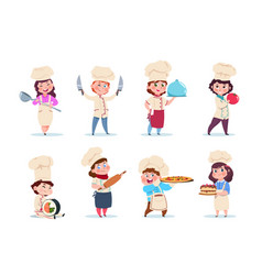 chef kids little smiling boy and girl kitchen vector image