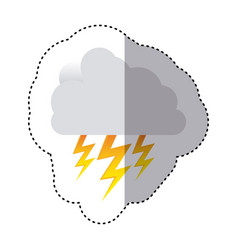Color sticker of cloud with lightnings vector