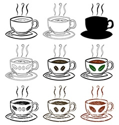 Cup Of Tea and Coffee Hand drawn set vector