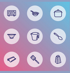 Dishware icons line style set with colander sieve vector