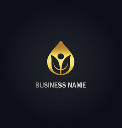 Droplet leaf organic nature gold logo vector