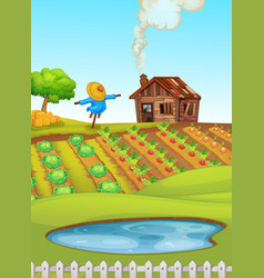 Farm scene with pond in foreground and crops in vector