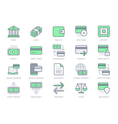finance banking simple line icons vector image