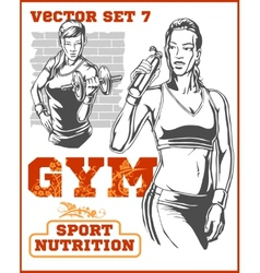 Fitness girls - set vector