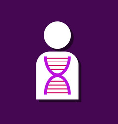 Flat icon design collection human dna in sticker vector