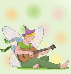 flower fairy boy with guitar vector image