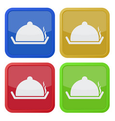 four square color icons serving tray with lid vector image