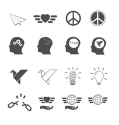 freedom icons set vector image