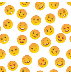 funny emoticons seamless pattern template vector image