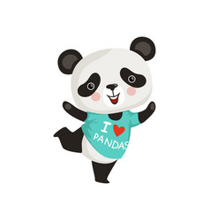 Funny little panda in dancing action adorable vector