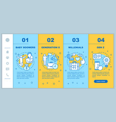 Generation onboarding mobile web pages template vector