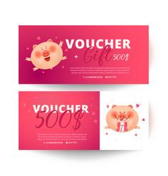Gift certificate valentines day voucher vector