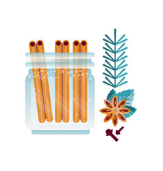 glass jar of cinnamon spice anise and cloves vector image