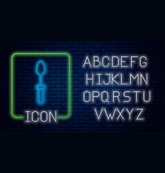 Glowing neon teaspoon icon isolated on brick wall vector