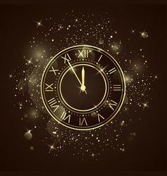 golden clock dial with roman numbers five minutes vector image