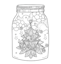 Hand drawn Christmas glass jar with fir vector image