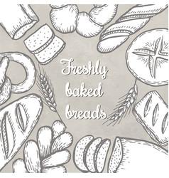 hand drawn decorative bread bakery vector image