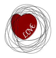 hand drawn scribble object with heart and word vector image