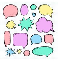 Hand drawn set of speech bubbles vector