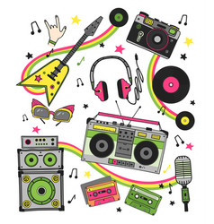 hand drawn set retro musical equipment record vector image