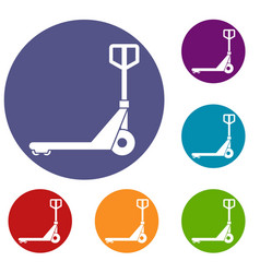 hand truck icons set vector image