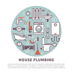 House plumbing round banner for promotion vector