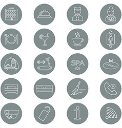 Icons of hotel service Thin line icon Hotel glyph vector image