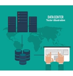 Laptop and map icon Data center design vector
