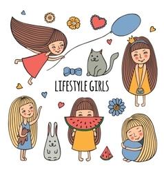 Lifestyle little girl vector image