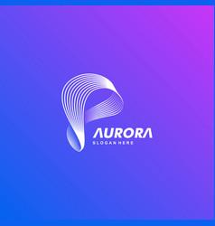 Logo aurora gradient colorful style vector