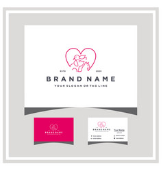 Love dog bird cat logo design and business card vector