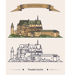 Luxembourg Vianden old castle on mountain vector image