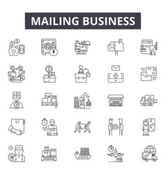 mailing business line icons signs set vector image